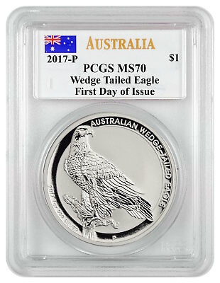 2017-P Australia 1 oz Silver Wedge-Tailed Eagle PCGS MS70 FDI Mercanti SKU45696
