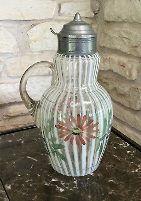 Antique Syrup Pitcher Striped Glass w/ Hand Painted Floral Design