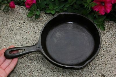 """Antique Small Cast Iron #3 Fry Pan Skillet 6.5"""" USA R Cookstove Camping Vintage"""