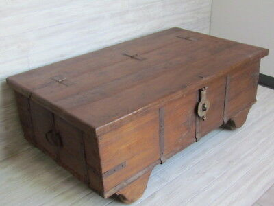Rustic Indian Chest/Coffee Table Alternative. Reclaimed Wood W/ Wrought Iron.