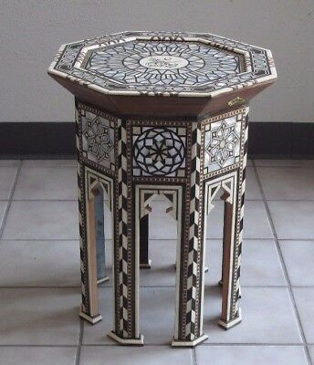 Exiting Syrian Side/end Table Inlaid With Mother Of Pearl Moroccan/mediterranean
