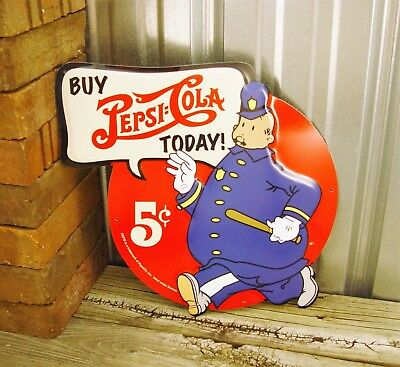 Pepsi Cola 5¢ Cop Police Embossed Die Cut Out Metal Tin Sign Vintage Ad Kitchen
