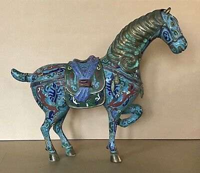 Antique Chinese Colorful Cloisonne Enamel Bronze or Brass Large Horse Sculpture
