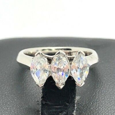 Sterling Silver 925 Marquise Faceted CZ three Stone Channel Set Cocktail Ring 7