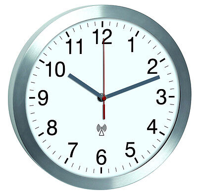 Radio-Controlled Wall Clock TFA 60.3533.02 aluminium-glass 300 MM Almost Silent