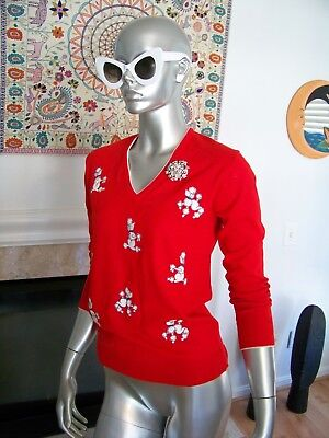 Vtg Rare 50's MINT Con. POODLE Embroidered ROCKABILLY Pin UP V-NECK Sweater WoW!