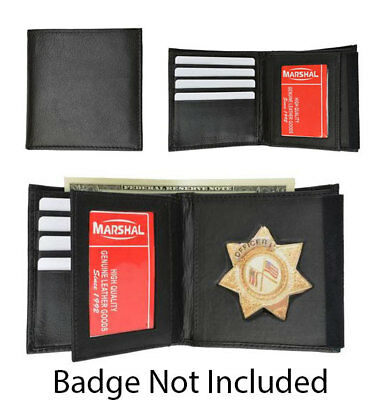 Mens Leather Wallet for Star Badge ID Holder Police Cop Sheriff Security Fire