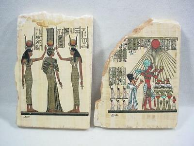 Noblespirit NO RESERVE {3970} Ancient Egyptian Hand-Painted Papyrus on 2x Stones