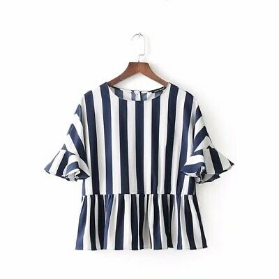 New Womens Casual Striped Print Flare Sleeve Short Pullover Shirt Blouse Tops SM