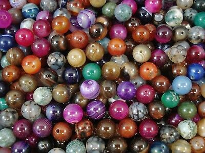 Gemstone Beads 25pc Mix Agates 10mm Round Semi Precious Gem Natural FREE POSTAGE