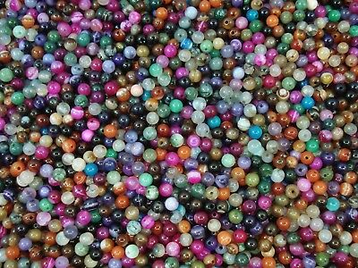 Gemstone Beads 55pc Mix Agates 4mm Round Semi Precious Gem Natural FREE POSTAGE