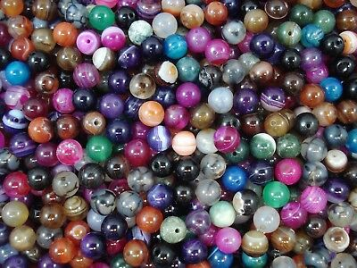 Gemstone Beads 35pc Mix Agates 8mm Round Semi Precious Gem Natural FREE POSTAGE