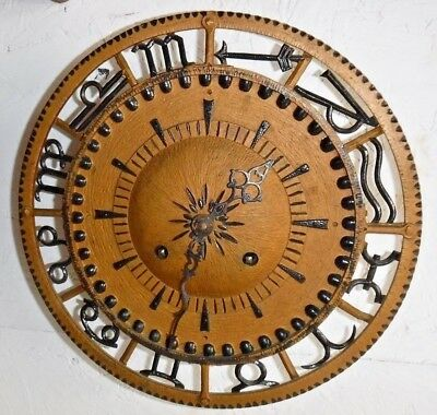 German Mechanical Retro Wall /gallery Clock Astro Zodiac Symbols 14 Day Working