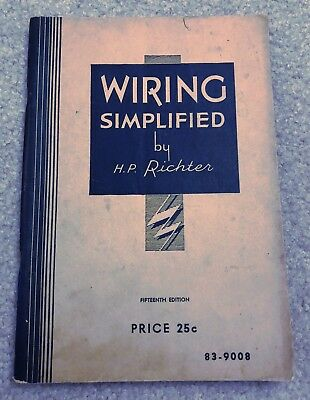 Wiring Simplified by H.P. Richter 15th Edition Trade Booklet Electrical Undated