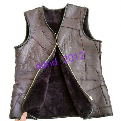 Men Real Sheepskin Wool Fur Lined Thick Warm Sleeveless Waistcoat Vests