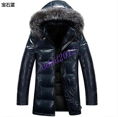 Men Long Leather jacket Duck Down Motorcycle Coat Real fur collar Hooded Outwear