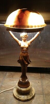 Figural Art Deco Lamp, Nymph with Alabaster Shade
