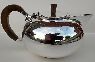 Modernism Sterling Silver Teapot, Danish style elements, Mid Century Mod