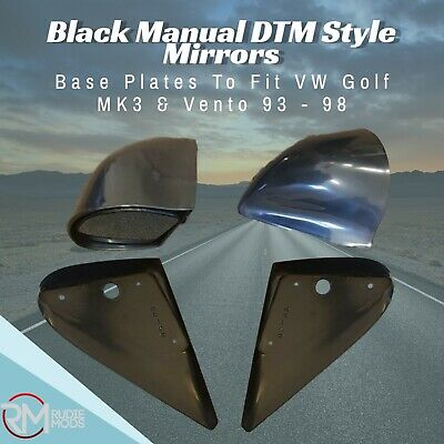 Black Manual DTM Style Mirrors & Base Plates To Fit VW Golf MK3 & Vento 93 - 98