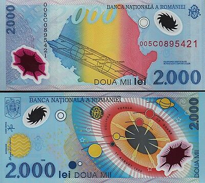 Romania 2000 Lei 1999 Unc Polymer P.111 Commemorative Solar Eclipse