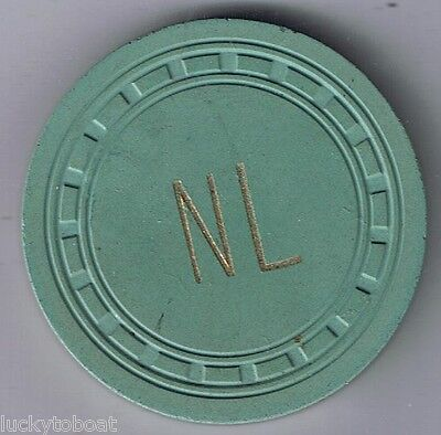 Northern Lounge Rectangle Mold No Denomination Grn Casino Chip Ely Nevada 1950's