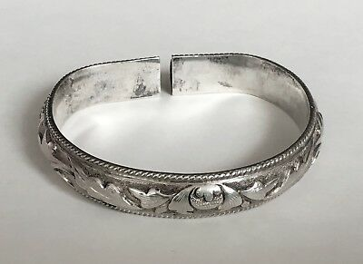 Antique Chinese Silver Repousse Lotus Flower Foliage Bangle Bracelet Hall Marked