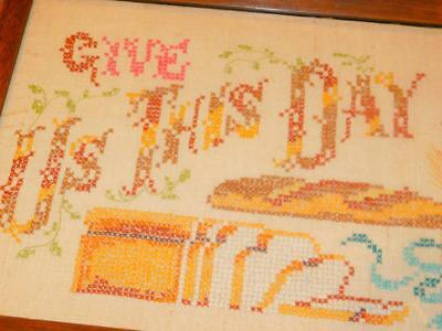 """Vintage Cross Stitched LINEN SAMPLER Framed GIVE US THIS DAY Daily Bread 11x22"""""""