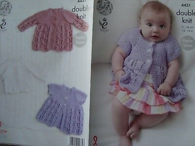 Matinee Coats /& Cardigan in DK King Cole 4431 Knitting Pattern Baby Blanket