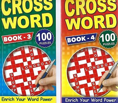 2 Crossword Books 100 Puzzles In Each Pocket Size Books 3 & 4 With Free Pp New