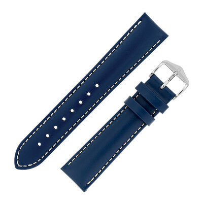 Hirsch TROOPER Calf Leather PADDED Watch Strap in MID BLUE WITH WHITE STITCHING