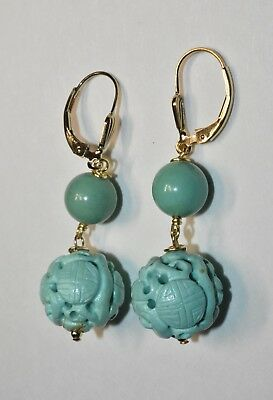 Vintage Chinese Carved Turquoise Dragon Sho Bead Earrings with 14K GF Lever Back