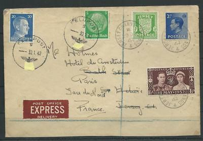 Kanalinseln + ZuF Express-Brief Feldpost Jersey - Paris, 1942 (58747