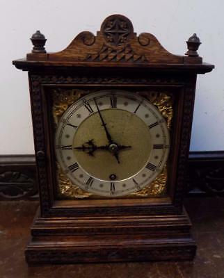 carved oak cased winterhalder bracket clock c1990s