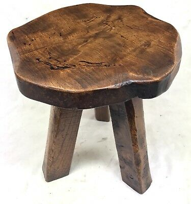 Antique Solid Oak Miniature Apprentice Childs Stool Table Stand