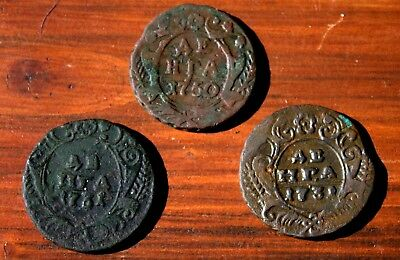 3 Very Old Russian Bronze Coins Dated 1700's LOT #17