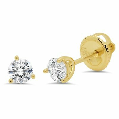 0.5ct Round Cut Stud Solitaire Earrings Martini Solid 14k Yellow Gold Screw Back