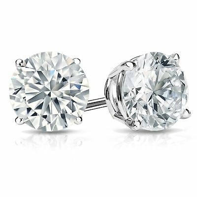 0.5ct Round Brilliant Cut Stud Everyday Earrings Solid 14k White Gold Push Back