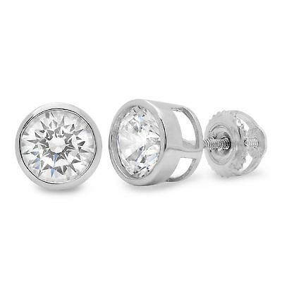 1ct Stud Solitaire Earrings Gift Round Cut Solid 14k White Gold Screw Back