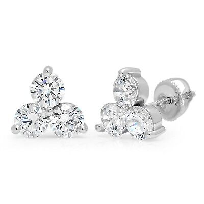 3.1ct Round Cut 3-Stone Stud Solitaire Earrings Solid 14k White Gold Screw Back