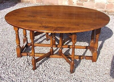 Massive Antique Style Oak Wakes Double Gateleg Dining Table SEATS 8 / 10 People