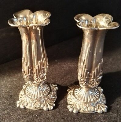 Antique Pair of Art Nouveau Solid Hallmarked Silver Bud Vases Walker & Hall