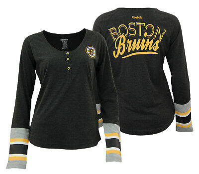 REEBOK NHL WOMEN S Boston Bruins T-Shirt Long Sleeve Henley Striped ... db77622ef