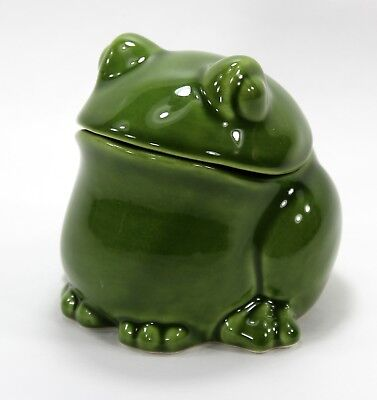 Covered Frog Jar, Sur la Table, Trinket Box, Green, Made in Italy, Fat, Chubby
