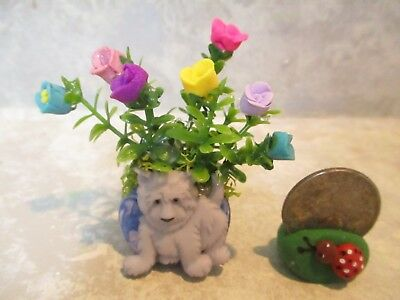 "Miniature Shadowbox/Doll 2""h FUN DOG Planter of tiny roses #3"