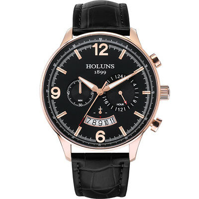 HOLUNS Chronograph Water Resistant Wrist Watch Analog Quartz Leather Band Mens