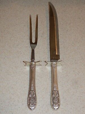 Fine Arts Sterling Silver Flatware Crown Princess 2 Pc Roast Carving Set