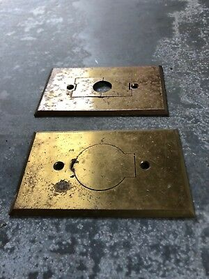 Two Vintage Covered Brass outlet covers, plates, one Bryant, rare, old