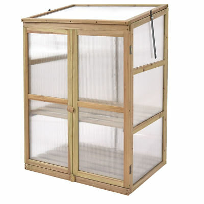 Outdoor Wood Patio Greenhouse Grow Room Cold Clear Frame Raised Plants Shelves
