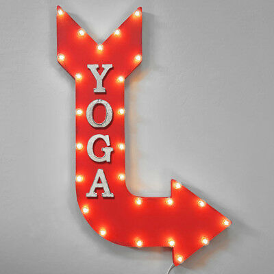 Large Metal Marquee YOGA Stretch Exercise Studio Gym Workout Arrow Light Up Sign