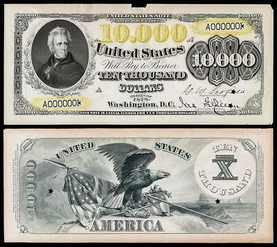 Nice Crisp Uncirculated 1890 $10,000 Gold Certificate Proof Copy Note  !